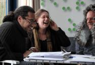 Foto Vincent, Gustavo, Maria- lachend